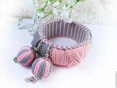 Купить Me to you, серьги и браслет из полимерной глны, имитация вязания - браслет в подарок