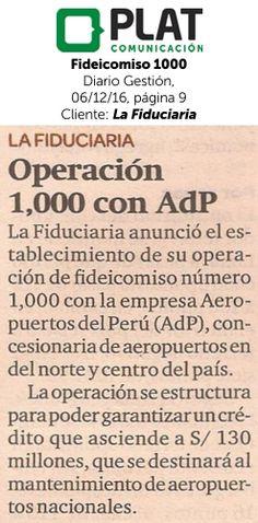 La Fiduciaria: Fideicomiso 1000 en el diario Gestión de Perú (06/12/16)