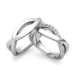 Custom Infinity Wedding Ring Band for Him and Her with Diamonds and Gemstones. Customized matching wedding bands in infinity wedding ring setting with your choice of diamonds or natural gemstones in 14k or 18k white, yellow or rose gold and platinum.
