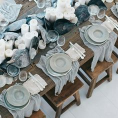 Blue dinner party