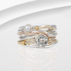 Green Amethyst and Pearl Ring