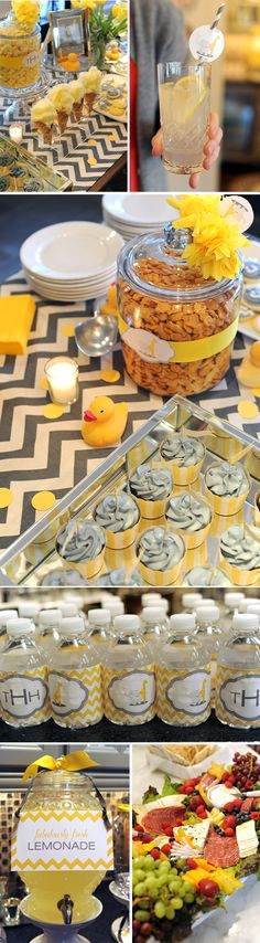 Adorable Elephant and Giraffe Baby Shower—gray chevron with yellow cotton candy, lemonade and goldfish. Bottle water wraps match invitation with gray and yellow cupcakes.