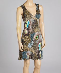 Another great find on #zulily! Brown & Teal Abstract Sleeveless Dress by Modern Touch #zulilyfinds