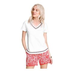 Embroidered Trim Tee in White from Joe Fresh