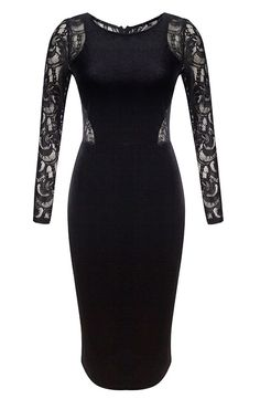 Tribear Women's Sexy Evening Lace Velvet Midi Bodycon Dress * Startling review available here  : Evening dresses