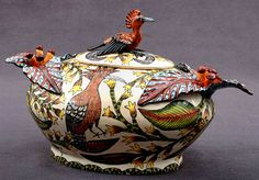 African pottery - Tureen with hand painted and sculpted birds by Nelson Mchunu, Ardmore studio.  Handmade art pottery.
