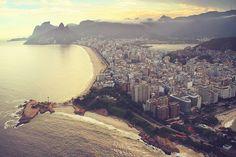 Flying Over Ipanema Beach, Rio de Janeiro, Brazil.