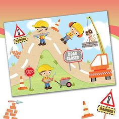 A142 Under construction.  Phoenix Trading greetings card £1.50 (or £1.20 each when you buy 10 or more cards of any design).  Look out for the matching gift wrap and tag too.