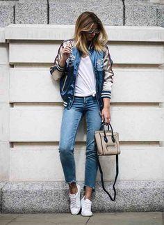 Бомбер с узкими брюками или джинсами