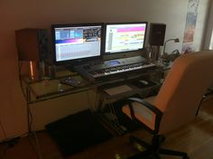 Dual Monitor Home Studio Setup With Professional Quality Equipment | Shure, ST69, Sterling, Yamaha, Recording Studio, PreSonus Faderport, Dual Monitor, Fostex, Ikea, iMac, Apogee Duet | Desktopped