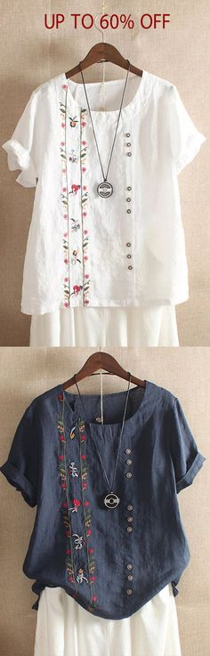 Women Bohemian Embroidery Floral Short Sleeve T-Shirts Crochet with alternati. - knitting - Women Bohemian Embroidery Floral Short Sleeve T-Shirts Crochet with alternative materials Croch - Diy Outfits, Fashion Outfits, Hand Embroidery Designs, Floral Embroidery, Shirt Diy, Creation Couture, Embroidered Clothes, Diy Hair Accessories, Fashion Sale