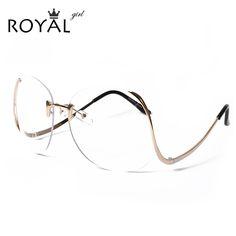 Royal girl 2017 new mujeres sin rebordes marcos de anteojos gafas de gran tamaño único ss380