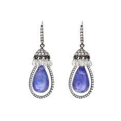 Betteridge Tanzanite Bead & Briolette Diamond Drop Earrings