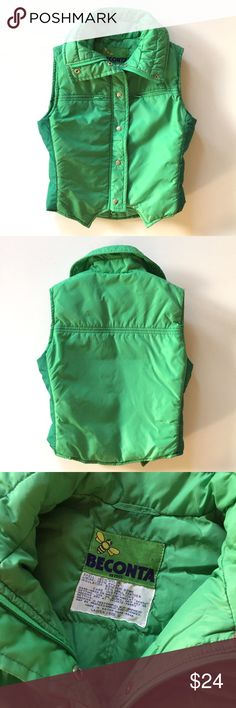 "Vintage 70's Grass Green Puffy Down Ski Vest Awesome vintage ski vest. Grass green. Puffy down filled. Label: Beconta c 1970's. 2 way front zipper. Very good condition. Vintage size 12, modern size small. 20 1/2"" shoulder to hem. 18"" armpit to armpit. Vintage Jackets & Coats Puffers"