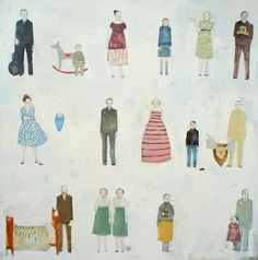 18 people and the objects they hold more dear--oil painting on wood panel