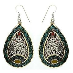 $20.50   Made in Nepal Authentic Silver Plated Teardrop Shaped Earrings: Jewelry: Amazon.com