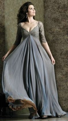 This dress is fabulous... Can be made in any color per the website... V Neck Empire Floor Length Lace Elegant Gray Dress With Sleeves