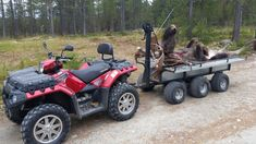 Homemade 6 wheel atv trailer for heavy transport in the woods and fields. with wide tires and morewheels that have contact with the ground at the same time you will have,minimal ground pressure which provides a minimum footprint and maximum load capacity. carrying capacity of the trailer is far better than the ATV. Log Trailer, Off Road Trailer, Trailer Plans, Utility Trailer, Four Wheeler Accessories, Atv Accessories, Utv Trailers, Custom Trailers, Hunting Trailer