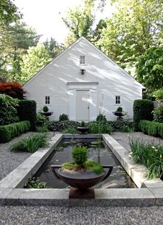 Delightful courtyard garden and pond  with white shed.  Strip of lawn instead of pond?