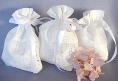 WEDDING FAVOR BAGS Set of 3 Made from Vintage Hankies by CUSHgoods, $12.00