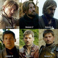 Jaime Lannister throughout the seasons (so far) Ugh I'm obsessed with him . . #JaimeLannister #NikolajCosterWaldau #GameofThrones #GoT…