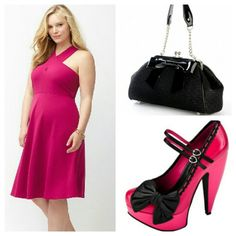 "Lane Bryant Plus Size Pin Up Halter Dress Fun and playful, fancy and formal, either way you go you can't go wrong with this stunning pink pin up style halter dress! Extremely flattering! Shoes and bag not included, for presentation purposes only! Thanks for looking! Happy Poshing! Lynnette :-) Measurements: Bust: 46""-54"" Waist:44""-48"" Length:46"" Lane Bryant Dresses"