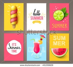 Set of summer brochures with fruits,berries, cocktails and ice cream. Vector templates.