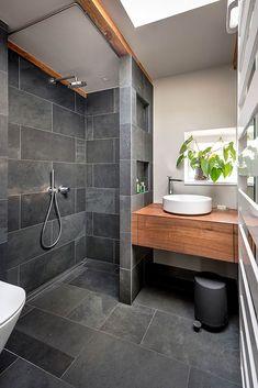 bathroom black gray slate wood: minimalist bathroom by CONSCIOUS . black, bathroom black gray slate wood: minimalist bathroom by CONSCIOUS .