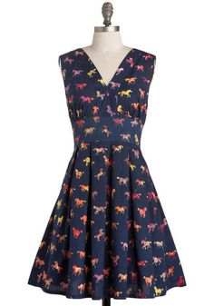 Gallop with Glamour Dress by Sugarhill Boutique - Blue, Red, Orange, Yellow, Purple, Pink, Brown, Tan / Cream, Print with Animals, Novelty Print, Casual, Vintage Inspired, A-line, Sleeveless, International Designer, Mid-length