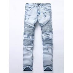 $29.22 Zip Fly Broken Hole Moto Jeans