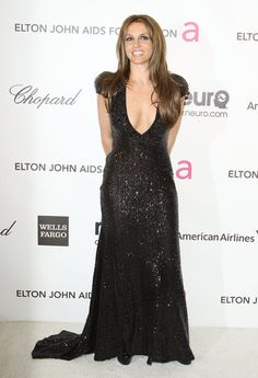 Britney Spears (now a brunette!) at Elton John's #Oscars party | Find more party pictures here!