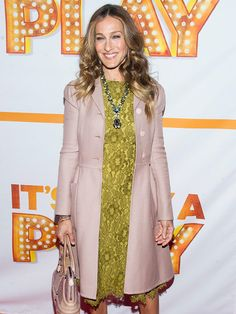 Sarah Jessica Parker in muted pink coat & mustard lace dress