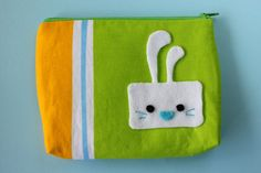 Cute zipper pouch / makeup bag  square bunny by FizziMizzi on Etsy