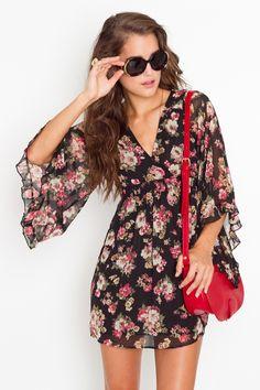 Floral Kimono Style Dress