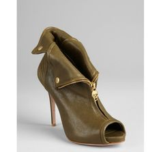 Alexander McQueen Olive Leather Zip Front Booties ~ Bluefly $692.79