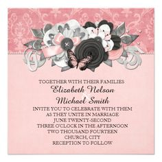 Pink Damask Butterfly Ornaments Wedding Invite