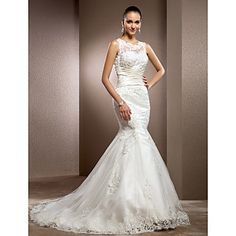Trumpet/Mermaid Jewel Court Train Lace Wedding Dress – USD $ 299.99