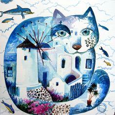 """""""Santorini Cat"""" par Oxana Zaika"""