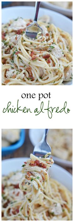 This easy and creamy One Pot Chicken Alfredo is ready in about 30 minutes - and tastes just as good as a dish that you'd order at your favorite Italian restaurant.  Even better?  Everything - including the pasta - is cooked in just one pot! | Kitchen Meets Girl