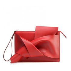 Red calf leather clutch with the iconic bow on front (9,560 MXN) ❤ liked on Polyvore featuring bags, handbags, clutches, red bow purse, zipper purse, calf leather handbags, embossed purse and metallic clutches