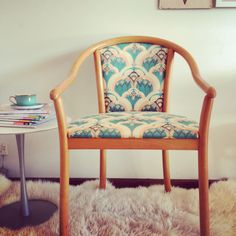 Tango and James, rescued chair, reupholstered in beautiful deco birds print on suede. So lovely. #spoonflowered