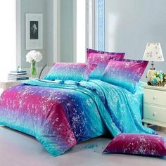 neon teen girls bedding | Forest Scene Full Size Bright Color Bedding Sets