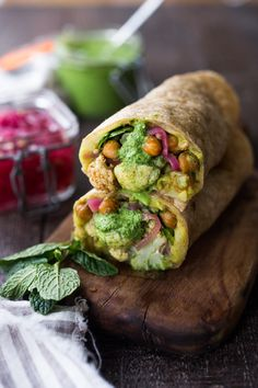 Flavorful Frankie Recipe- with curry mashed potatoes, chickpeas, cauliflower, spinach, pickled onions and amazing Cilantro Mint Chutney! Vegan!