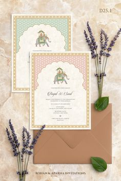 Pastel arches themed wedding invitation concept with an elephant motif. For more design ideas, visit ——————————————— Indian Wedding Invitation Cards, Indian Wedding Invitations, Wedding Party Invites, Engagement Invitations, Printable Wedding Invitations, Wedding Invitation Design, Wedding Stationery, Wedding Games, Wedding Card Design Indian