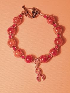 Gorgeous Mottled Pink Breast Cancer Awarness Bracelet by OneOfAKindDesignsByD on Etsy