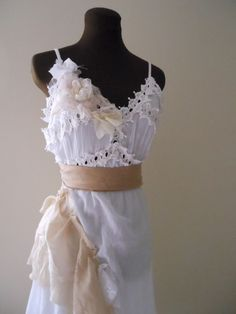 Tattered Wedding Dress French Country Lace Boho Rustic Chic Bridal Gown Cotton Bride - product images  of