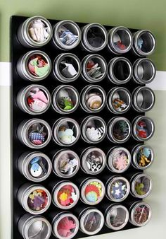 For craft closet:Use a magnetic board and favor tins to organize small things vertically. This link includes lots of great craft storage ideas, including using closet organizers for craft supplies. Scrapbook Organization, Craft Organization, Scrapbook Supplies, Craft Supplies, Scrapbook Storage, Organizing Crafts, Office Supplies, Scrapbook Rooms, Storage Organizers