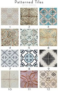 Yesterday, I shared some patterned tile trends for bathrooms. Another great space I like to add interest with unique tiles is the kitchen. Hand painted cement tiles in bold or subtle colors can give character and an artistic element to a kitchen space. I personally love how they can liven up a kitchen. Below are several amazing inspirations for patterned tile kitchens. Also, I've put together a reference guide of some of my favorite tile picks for you to use during upcoming projects. Have fu... Home Renovation, Home Remodeling, Patterned Kitchen Tiles, Unique Tile, Kitchen Backsplash, Backsplash Ideas, Kitchen Floors, Tile Patterns, Pattern Ideas