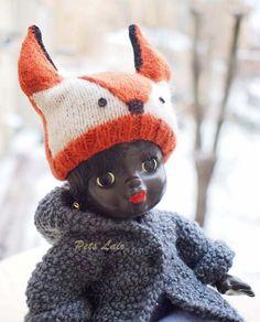 #hat #fox #costume for #Christmas #dolls, #doll #hat, Dolls #Knitted for #blythe, #BJD, #KID #iplehouse, #vintage #doll, #Angora #wool #hat