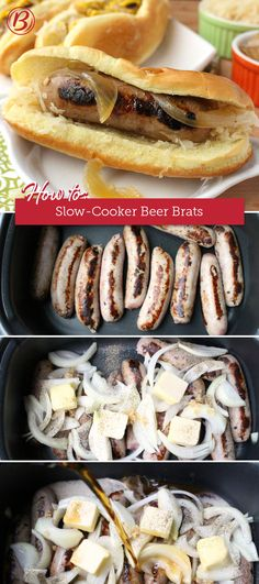 Save room on the grill and cook a big batch of juicy beer brats in your slow cooker. You can cook a whole meal without heating up the kitchen, a handy trick for summer parties and open houses! (Sandwich Recipes For A Crowd) Crock Pot Recipes, Bratwurst Recipes, Beer Recipes, Crock Pot Cooking, Grilling Recipes, Slow Cooker Recipes, Cooking Recipes, Cooking Stuff, Sandwich Au Porc